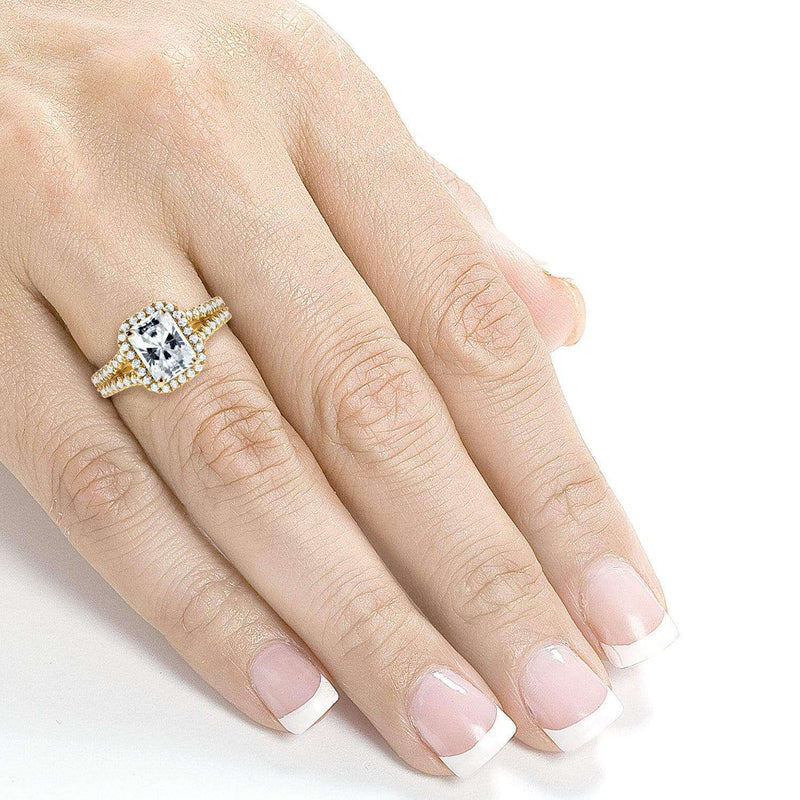 Kobelli Near-Colorless (F-G) Moissanite Engagement Ring with Halo Diamond 2 1/3 CTW 14k Yellow Gold