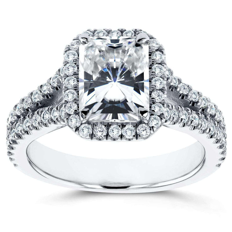Kobelli Near-Colorless (F-G) Moissanite Engagement Ring with Halo Diamond 2 1/3 CTW 14k White Gold
