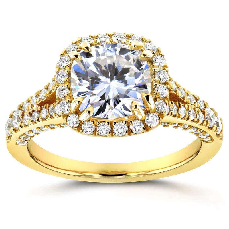 Kobelli Cushion Moissanite Engagement Ring with Diamond Halo Split Shank 2 1/10 CTW 14k Yellow Gold