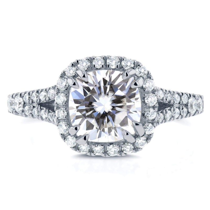 Kobelli Cushion Moissanite Engagement Ring with Diamond Halo Split Shank 2 1/10 CTW 14k White Gold