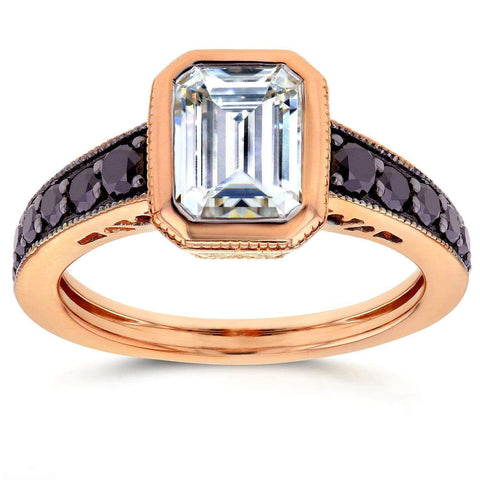 emerald cut moissanite ring with side black diamonds