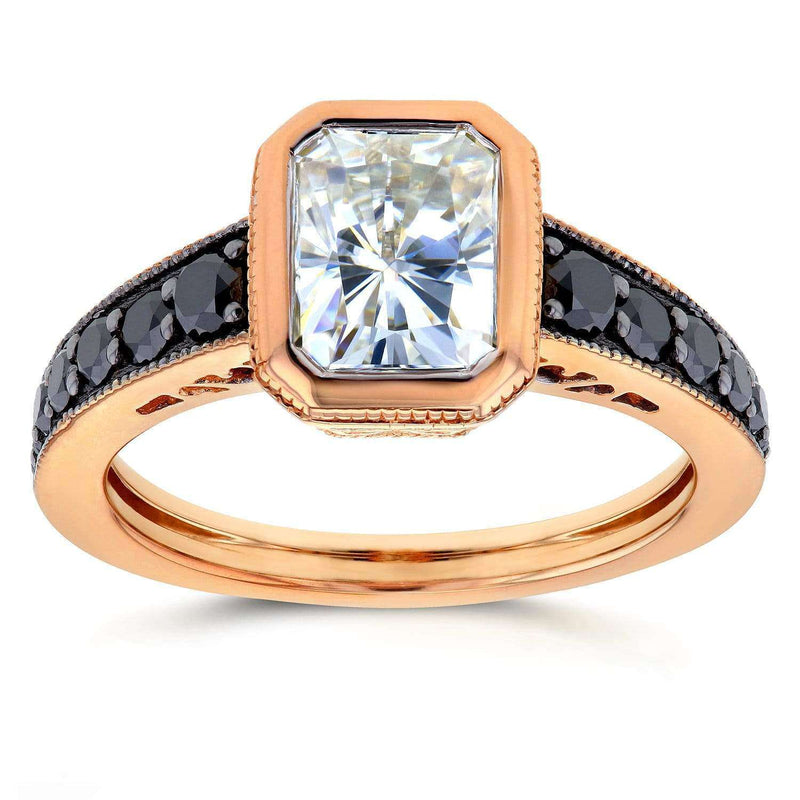 Kobelli Antique Radiant Moissanite Bezel & Black Diamond Ring 2 1/5 CTW 14k Rose Gold