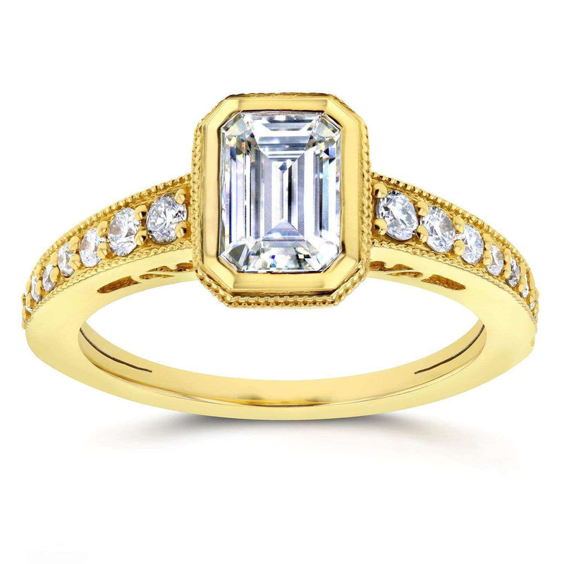 Kobelli Antique Near-Colorless (F-G) Moissanite Engagement Ring with Diamond 1 1/3 CTW 14k Yellow Gold