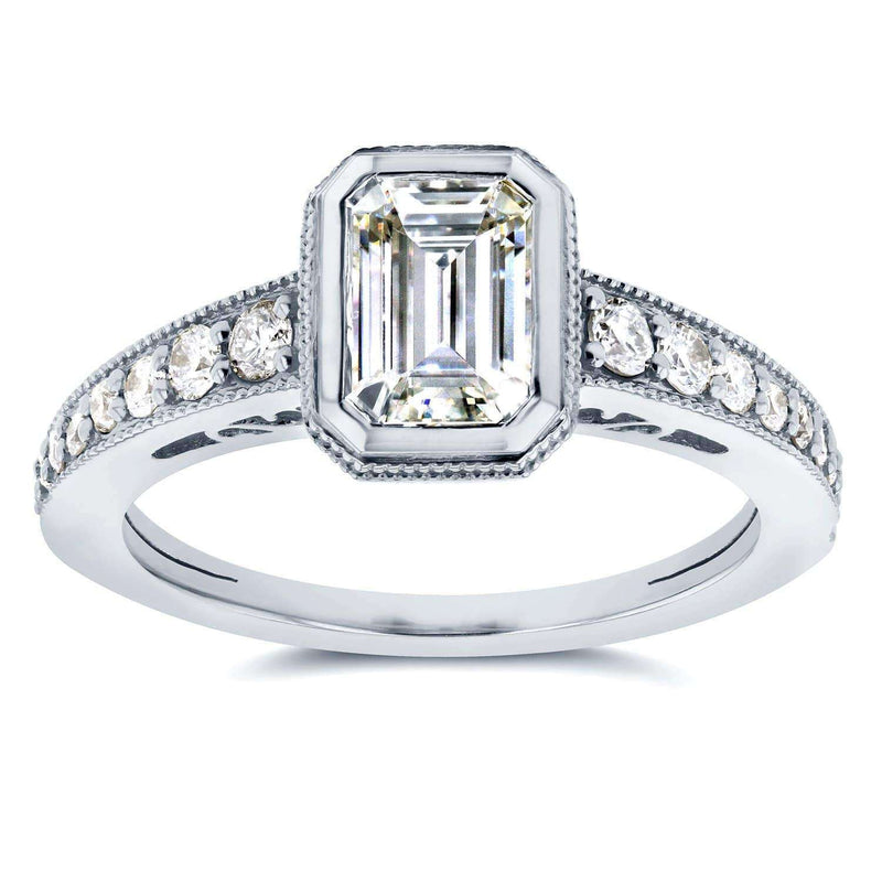 Kobelli Antique Near-Colorless (F-G) Moissanite Engagement Ring with Diamond 1 1/3 CTW 14k White Gold