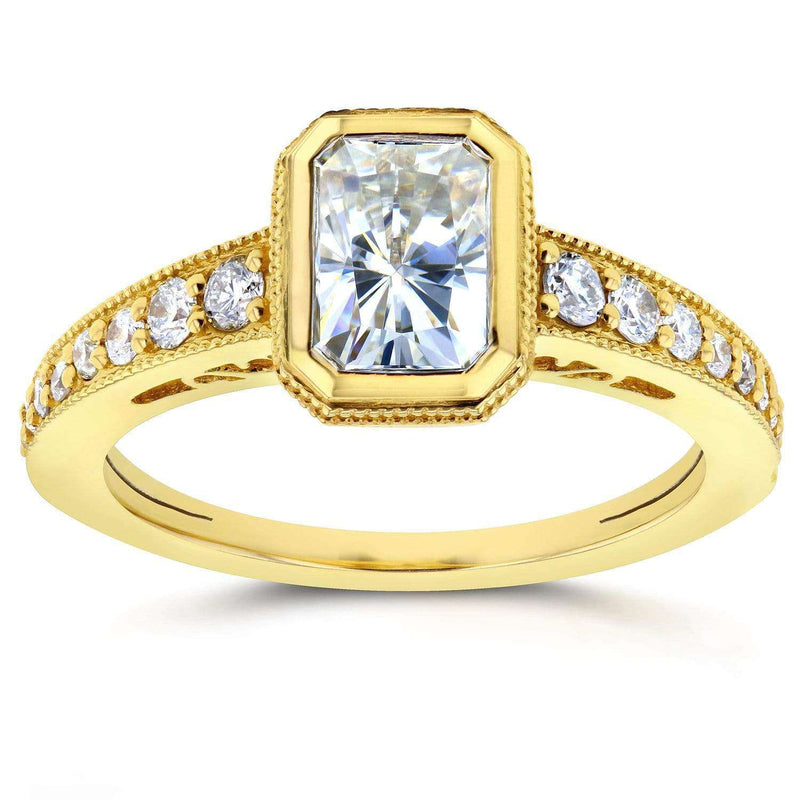 Kobelli Antique Radiant Moissanite Bezel & Diamond Engagement Ring 1 1/2 CTW 14k Yellow Gold