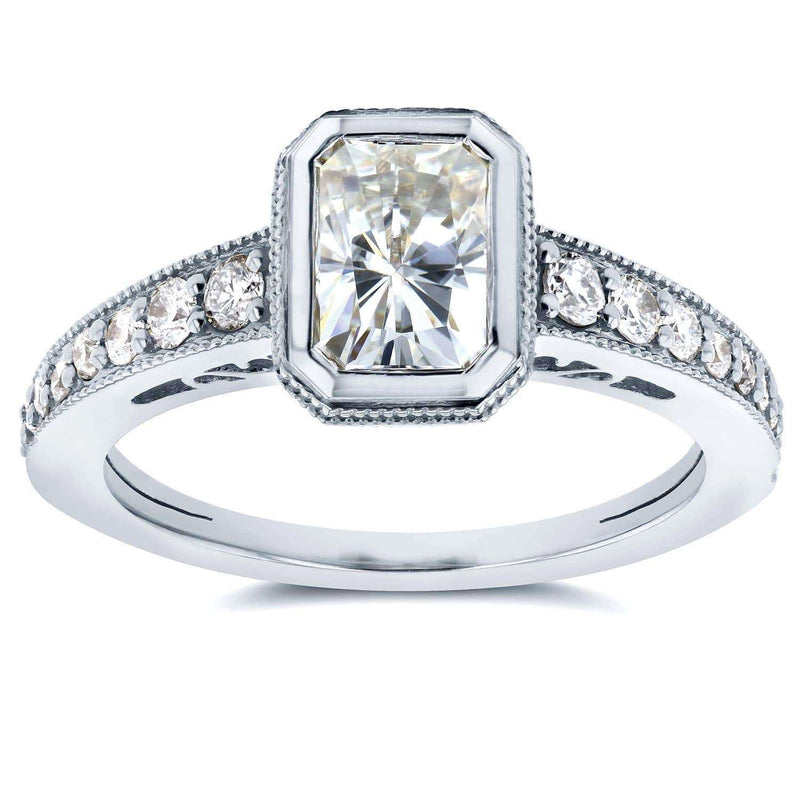 Kobelli Antique Near-Colorless (F-G) Moissanite Bezel & Diamond Engagement Ring 1 1/2 CTW 14k White Gold
