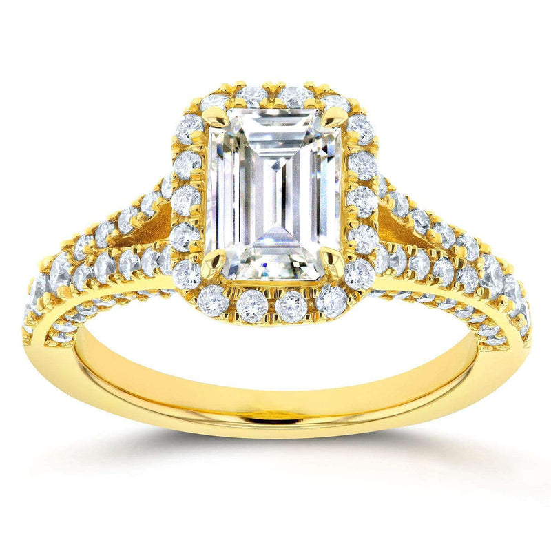 Kobelli Emerald Moissanite Engagement Ring with Halo Diamond 1 3/4 CTW 14k Yellow Gold