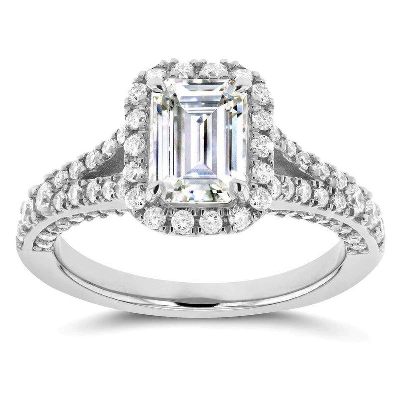 Kobelli Emerald Cut Diamond Halo Engagement Ring 1 5/8 CTW in 14k White Gold