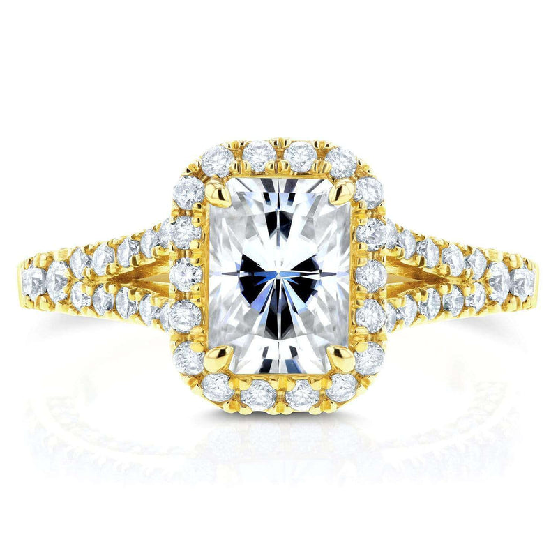 Kobelli Radiant Moissanite Engagement Ring with Halo Diamond 1 4/5 CTW 14k Yellow Gold