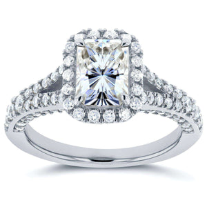 Radiant Moissanite Engagement Ring with Halo Diamond 1 4/5 CTW 14k White Gold
