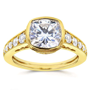Kobelli Cushion Moissanite Bezel & Diamond Engagement Ring 2 2/5 CTW 14k Yellow Gold