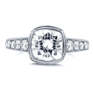Cushion Moissanite Bezel & Diamond Engagement Ring 2 2/5 CTW 14k White Gold