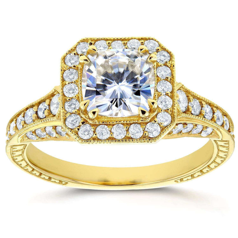 Kobelli Antique Cushion Moissanite Engagement Ring with Diamond 1 3/4 CTW 14k Yellow Gold