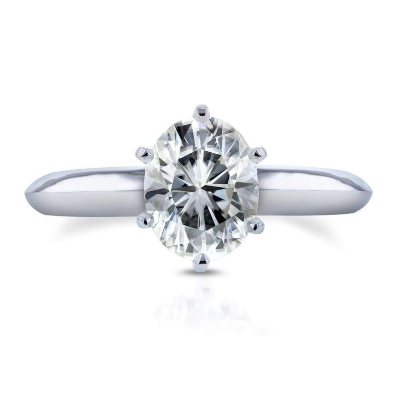 Kobelli Oval Moissanite Solitaire Engagement Ring 1 1/2 Carat in 14k White Gold