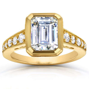 Kobelli Milgrain Emerald Cut Moissanite Bezel & Diamond Art Deco Ring 2 4/5 CTW 14K Yellow Gold