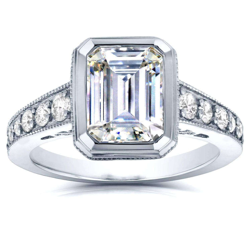 Kobelli Milgrain Emerald Cut Moissanite Bezel & Diamond Art Deco Ring 2 4/5 CTW 14K White Gold