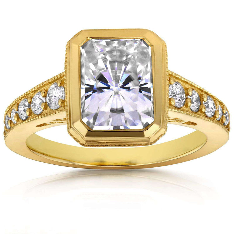 Kobelli Milgrain Radiant Moissanite Bezel & Diamond Ring 3 CTW 14k Yellow Gold