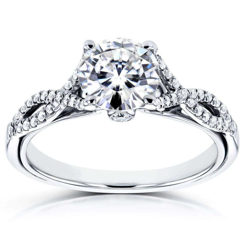 Kobelli Moissanite and Diamond Criss Cross Ring 1 1/6 CTW in 14k White Gold
