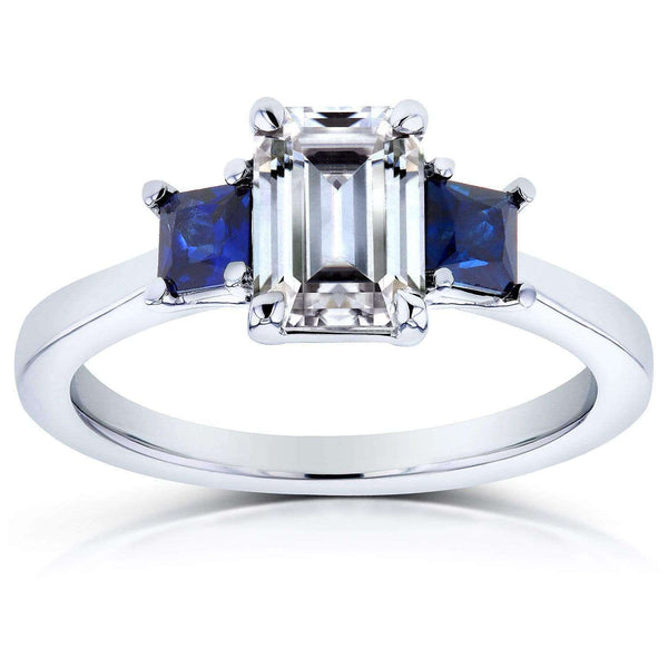 Kobelli Emerald Moissanite and Blue Sapphire Engagement Ring 1 1/2 CTW 14k White Gold