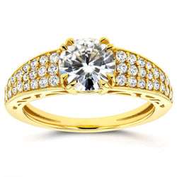 Kobelli Round Moissanite and Diamond Engagement Ring 1 2/5 Carat (ctw) in 14K Yellow Gold