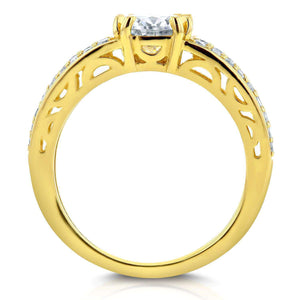 Round Moissanite and Diamond Engagement Ring 1 2/5 Carat (ctw) in 14K Yellow Gold