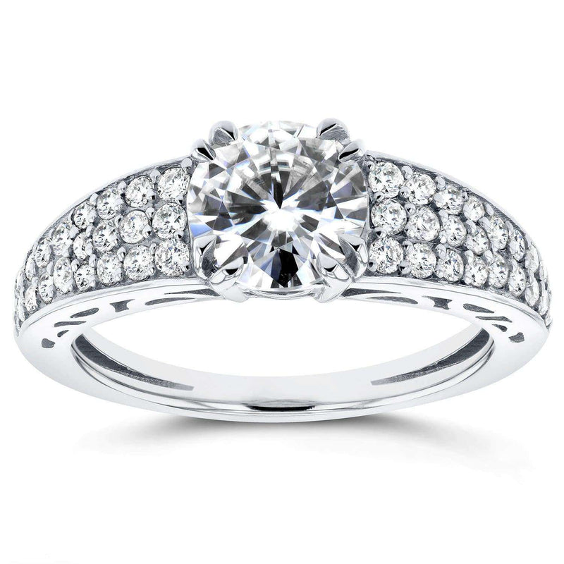Kobelli Round Moissanite and Diamond Engagement Ring 1 2/5 Carat (ctw) in 14K White Gold