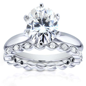 Oval Moissanite Bridal Set with Diamond 2 2/5 CTW 14k White Gold