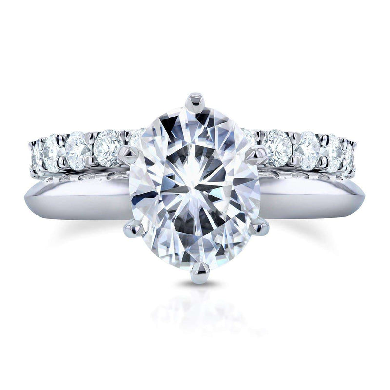 Kobelli Oval Moissanite Bridal Set with Diamond 3 1/10 CTW 14k White Gold