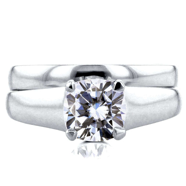 Kobelli Cushion Moissanite Classic Solitaire Bridal Set 1 1/10 CTW 14k White Gold