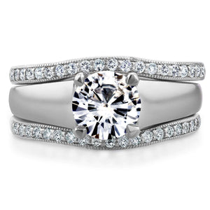 Round Moissanite Solitaire and Diamond Double Bands 3-Piece Set 1 1/3 CTW in 14k White Gold