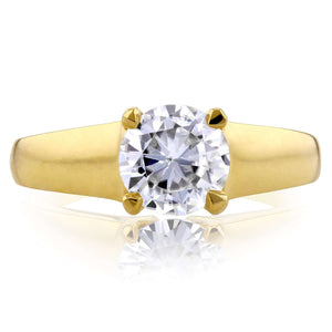 14k Yellow Gold Round Moissanite Classic Solitaire Ring 1 CTW