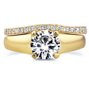 Round Moissanite Solitaire and Diamond Band Bridal Set 1 1/6 CTW in 14k Yellow Gold