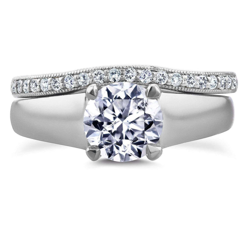 Kobelli Round Diamond Solitaire and Wedding Band Bridal Set 1 1/6 CTW in 14k White Gold
