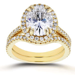 Oval Moissanite and Halo Diamond Bridal Set 3 3/5 CTW in 14k Yellow Gold