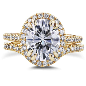 Kobelli Oval Moissanite and Halo Diamond Bridal Set 3 3/5 CTW in 14k Yellow Gold