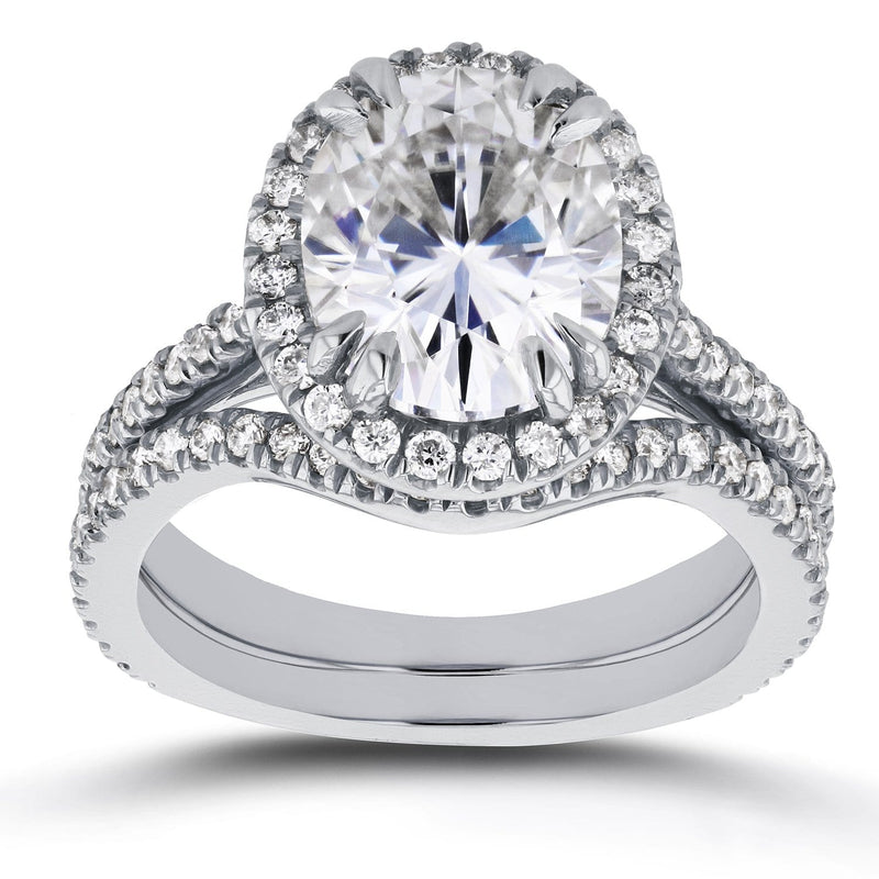 Kobelli Oval Moissanite and Halo Diamond Bridal Set 3 3/5 CTW in 14k White Gold