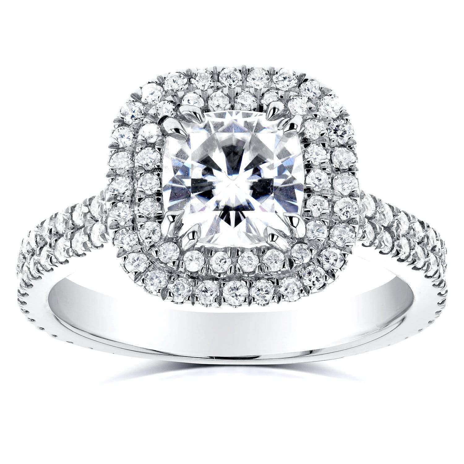 Compare Cushion Moissanite and Diamond Double Halo Engagement Ring 2 CTW 14k White Gold - 5