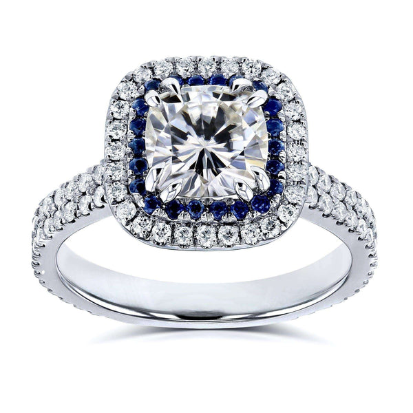 Kobelli 2 Carat TW Moissanite with Diamond and Sapphire Cushion Halo Engagement Ring in 14k White Gold