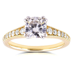 Kobelli 14k Yellow Gold Antique Moissanite Engagement Ring with Diamond 1 1/3 CTW