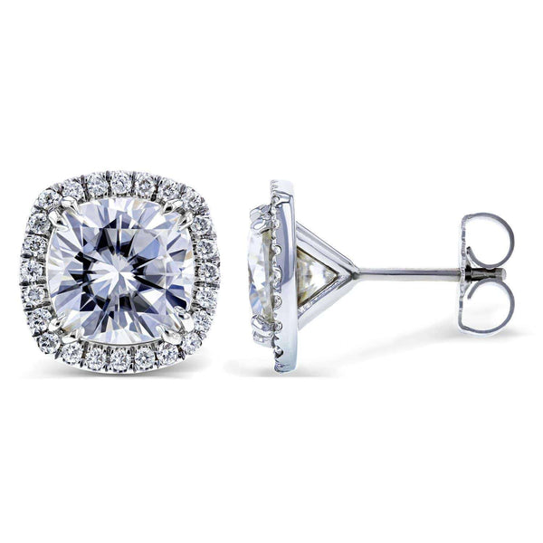 Kobelli Moissanite and Diamond Halo Formal Stud Earrings 6 CTW in 14K White Gold MZ62183CU