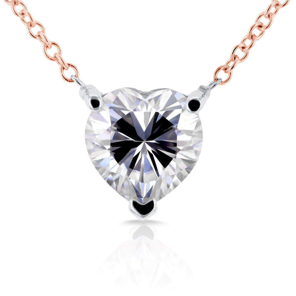 Kobelli Floating Heart Moissanite Necklace 1 CTW 14K Rose Gold MZ62185-R