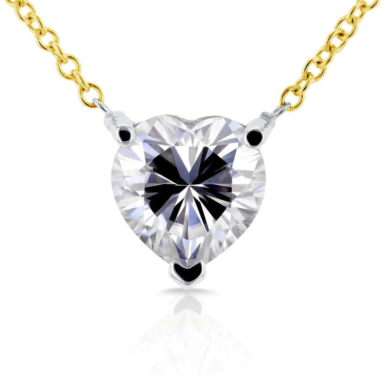 Kobelli Floating Heart Moissanite Necklace 1 CTW 14K Yellow Gold MZ62185-Y