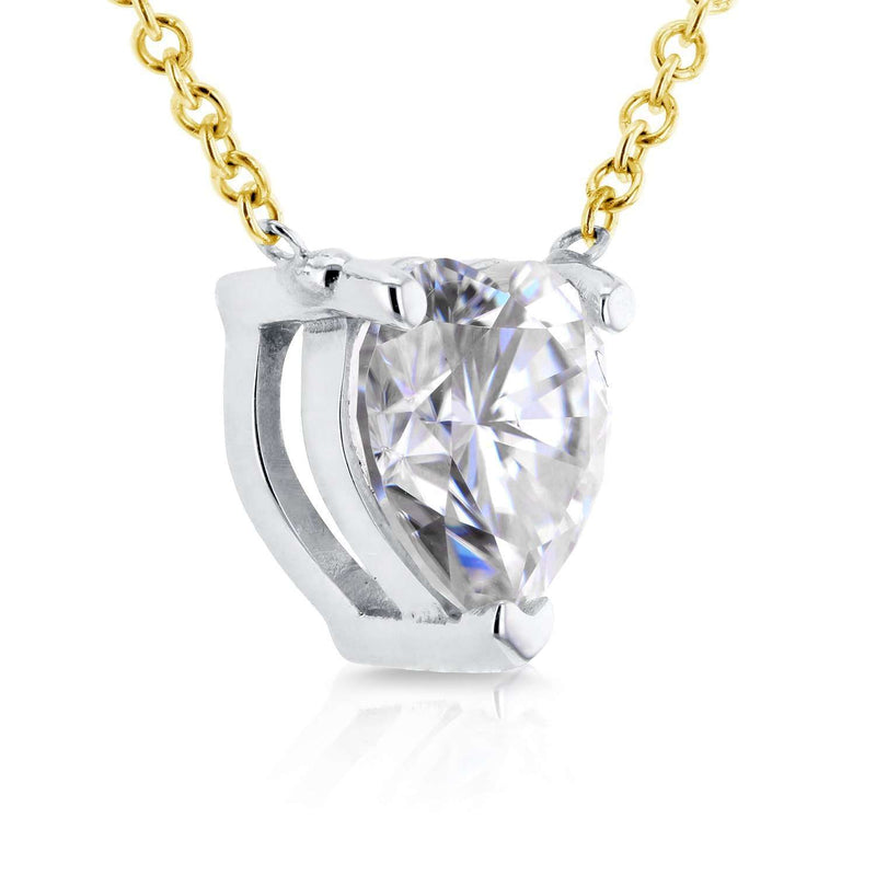 Floating Heart Near-Colorless (F-G) Moissanite Necklace 1 CTW 14K Yellow Gold