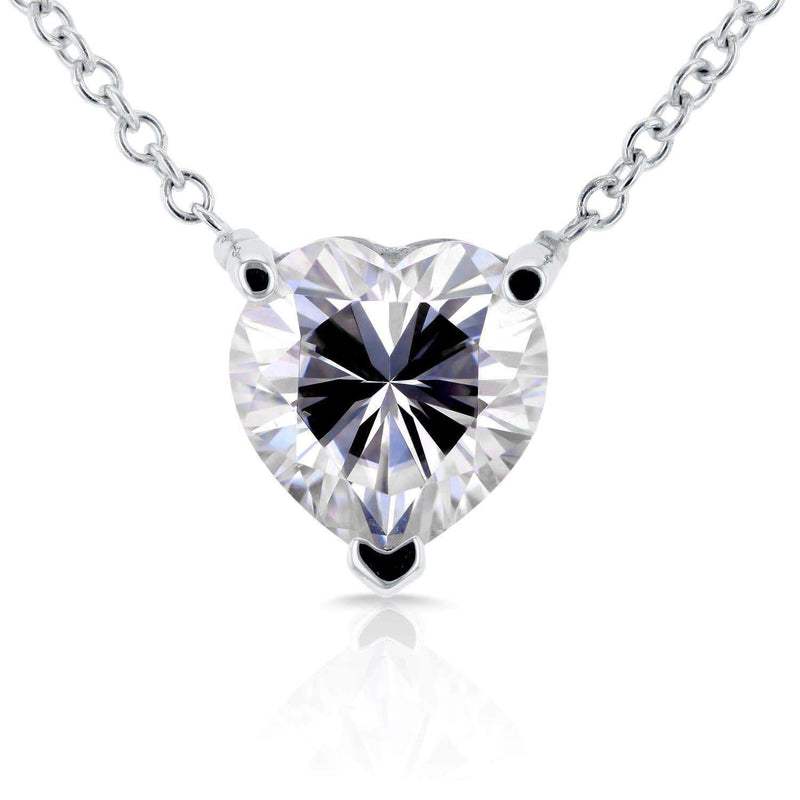 Kobelli Floating Heart Moissanite Necklace 1 CTW 14K White Gold MZ62185