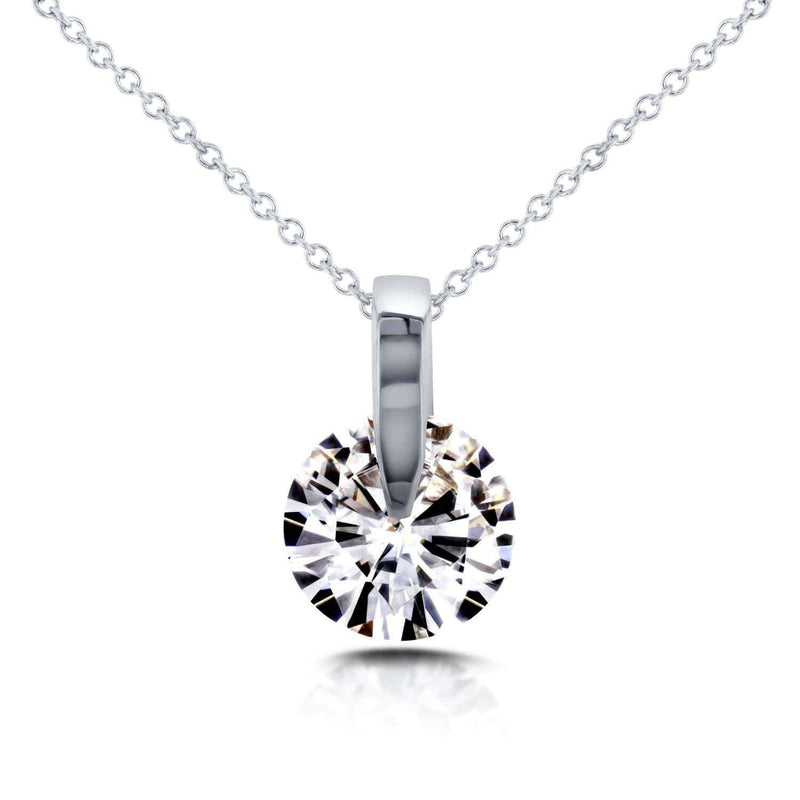 Kobelli Near-Colorless (F-G) Moissanite Wheel Solitaire Necklace 1 7/8 CTW in 14k White Gold MZFB62195