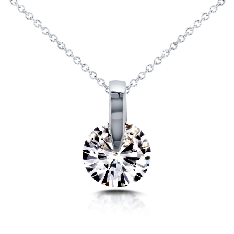 Forever One (D-F) Moissanite Wheel Solitaire Necklace 1 7/8 CTW in 14k White Gold