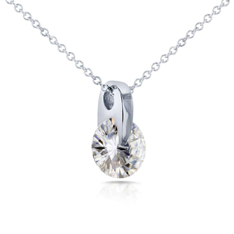Kobelli Round Moissanite Wheel Solitaire Necklace 1 7/8 CTW in 14k White Gold MZ62195