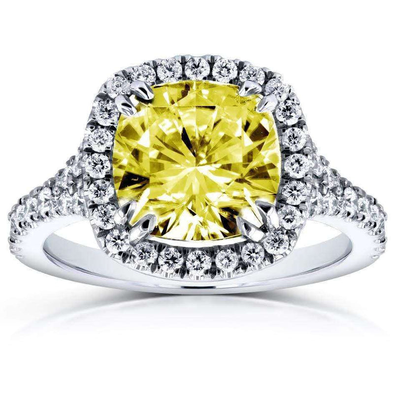 Kobelli Fancy Yellow Cushion Moissanite and Diamond Halo Cathedral Ring 3 1/3 CTW 14k White Gold