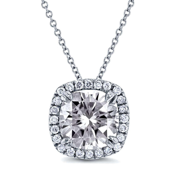 "Kobelli Near-Colorless (F-G) Moissanite and Halo Diamond Cushion Necklace 3 CTW in 14k White Gold (16"" Cable Chain) MZFB62194CU"