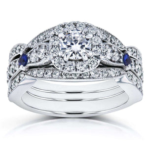 Kobelli Moissanite with Sapphire and Diamond Antique 3 Piece Bridal Set 1 1/6 CTW in 14k White Gold